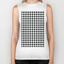 Modern black white picnic 80s print pattern Biker Tank