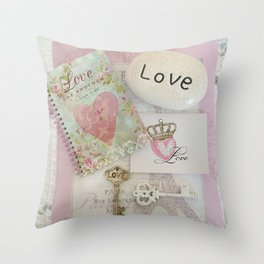 Shabby Chic Love Romantic Decor - Love Skeleton Key Prints Home Decr Throw Pillow