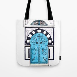 Blue Door in Sidi Bou Said with tiles Tote Bag