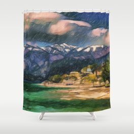 Storm over the lake Shower Curtain