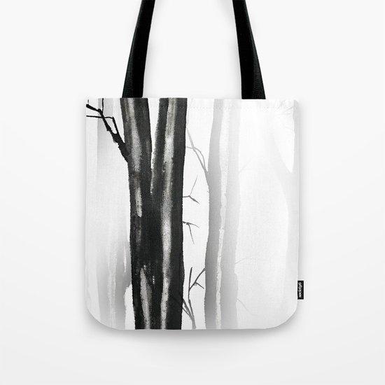 wood, snow and fog Tote Bag