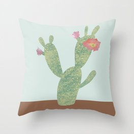 prickly pear cactus with flower Throw Pillow