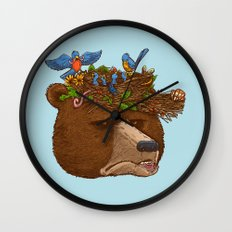 Mr Bear's Nature Hat 2017 Wall Clock