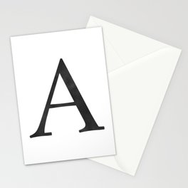 Letter A Initial Monogram Black and White Stationery Cards