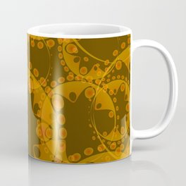 Abstract gentle pattern of coffee tentacles and bubbles on a sand background. Coffee Mug