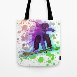 Paint splatter rainbow snowboarder Tote Bag