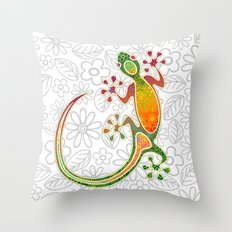 Gecko Floral Tribal Art Throw Pillow