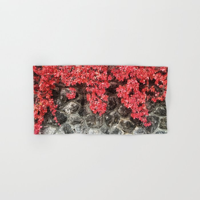 Pink red ivy leaves autumn stone wall Hand & Bath Towel