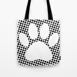 Dog Paw Print With Halftone Background Tote Bag