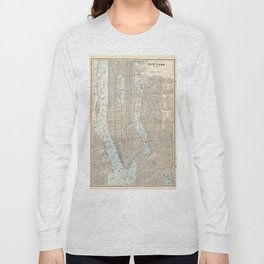 Vintage Map of New York City (1893) Long Sleeve T-shirt