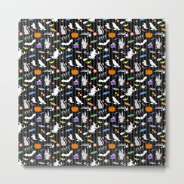 Halloween Fun - Charcoal Stripes Metal Print
