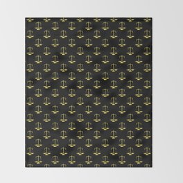 Gold Scales Of Justice on Black Repeat Pattern Throw Blanket