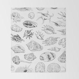 collection of sea shells, black contour on white background Throw Blanket