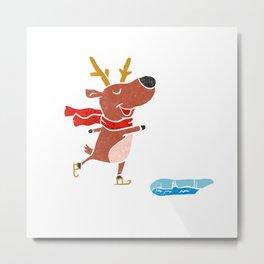 Reindeer ice skate Metal Print