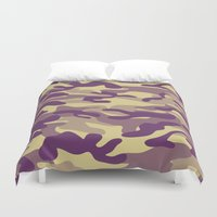 military Duvet Covers featuring Purple Military Camouflage Pattern by SW Creation