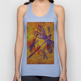 Navy-blue embroidered dragonflies on textured vivid orange background Unisex Tank Top