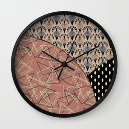 Combo brown patchwork Wall Clock