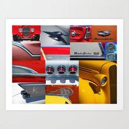Classic Car Collage Art Print