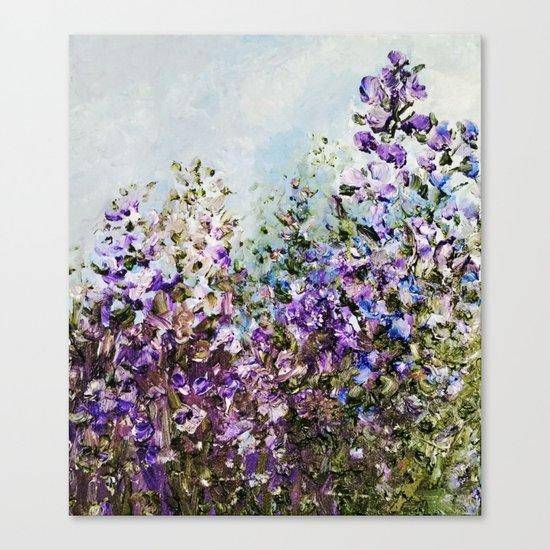 Floral Garden Impressionism in Pretty Purple Canvas Print