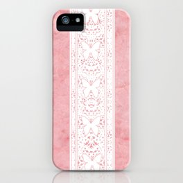 Delicate White Stripe Butterfly Pattern Pink Texure Design iPhone Case