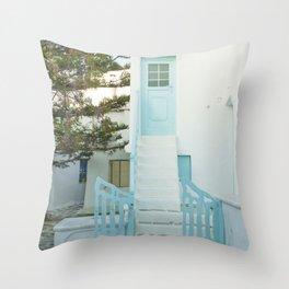 Doorstep to a Greek home Throw Pillow