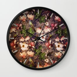Magnolias and Hummingbirds Wall Clock
