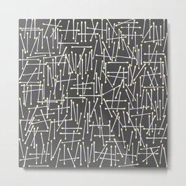 Cotton Swabs Pattern on grey background Metal Print