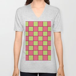 Rose Pink & Pale Green Chex  Unisex V-Neck