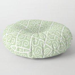 Mid Century Modern Diamond Swirl Pattern Sage Green Floor Pillow