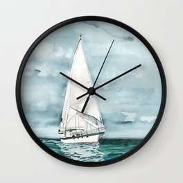 Sailboat painting on turquoise waters stormy skies Wall Clock