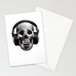 Hipster Skull Listening to Music on Headphones Stationery Cards