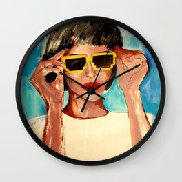 Pixel Sunglasses 02 Wall Clock