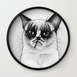 Grumpy Simmons Cat Whimsical Funny Animal Music Wall Clock