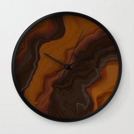 Midnight Amber Dark Abstract Lava Flow Wall Clock
