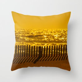 Beach Fence at sunset Throw Pillow