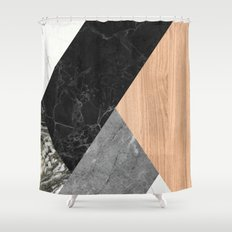 Marble and Wood Abstract Shower Curtain