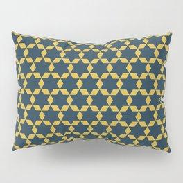 Star Tiles Geometric Mosaic Pattern in Navy Blue and Light Mustard Pillow Sham