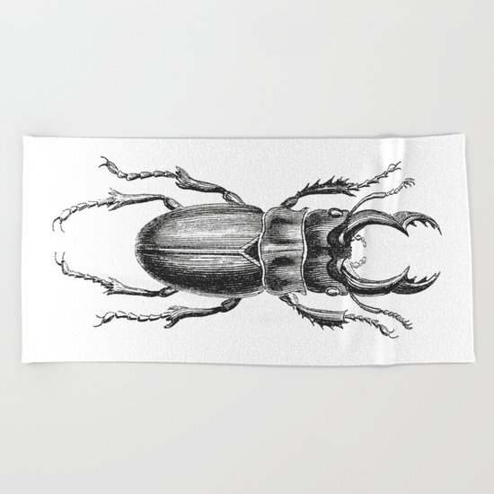 Vintage Beetle black and white Beach Towel