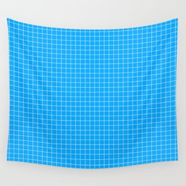 Blue Grid White Line Wall Tapestry