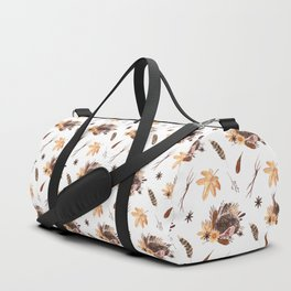 Cute brown pink orange yellow watercolor hedgehogs fall leaves Duffle Bag