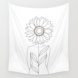 Minimalistic Line Art of Woman with Sunflower Wall Tapestry