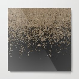 Speckled Gold Glitter Black Ombre Metal Print