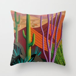 Cactus on Mountaintop Throw Pillow