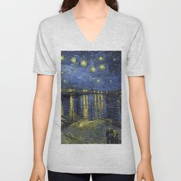 1888-Vincent van Gogh-Starry Night-72x92 Unisex V-Neck