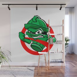 Cartoon Green trash can Wall Mural