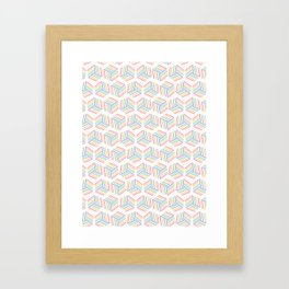 Graphic striped geometric cube Framed Art Print