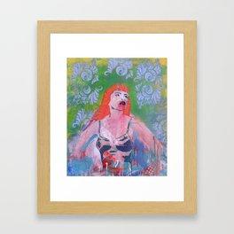 Polka girl in red Framed Art Print