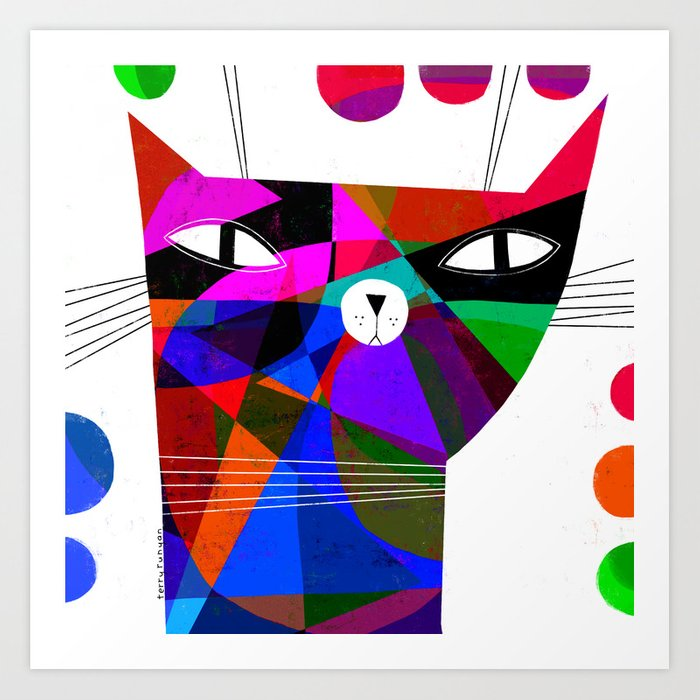 MOSAIC CAT Art Print