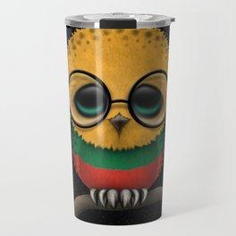 Baby Owl with Glasses and Lithuanian Flag Travel Mug