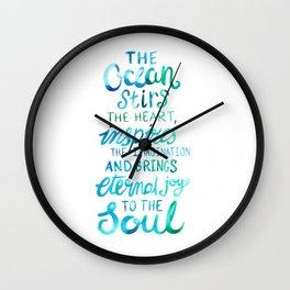 Ocean Love Quote - Watercolor Lettering Wall Clock